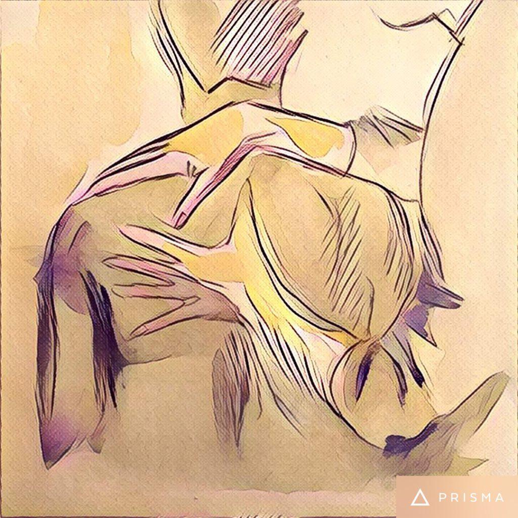 Zeichnung von Osteopath und Patient